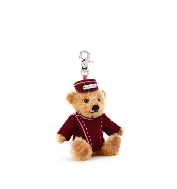Hill & Friends Bellboy Teddy Key Charm with Oxblood Uniform
