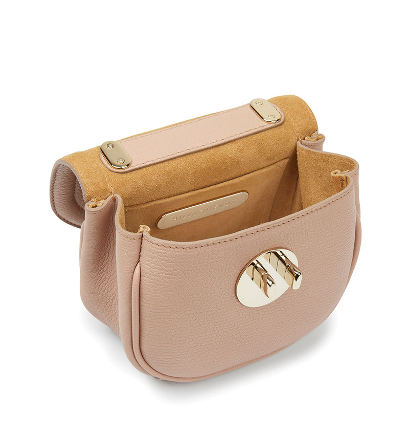 Tweency Chain Bag - Cookie Dough Nude Leather Happy Tweency Mini Chain Bag with Pale Gold 'Winky' Twist Lock - Hill and Friends