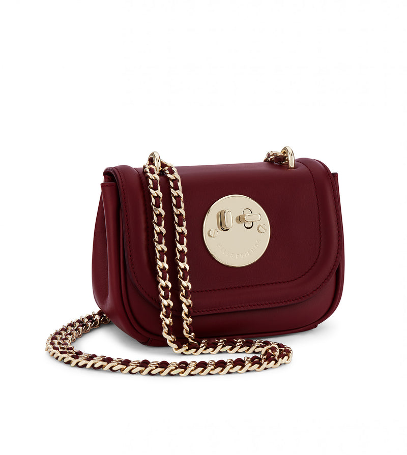 Tweency Chain Bag - Oxblood Happy Tweency Mini Chain Bag with Pale Gold 'Winky' Twist Lock - Hill and Friends