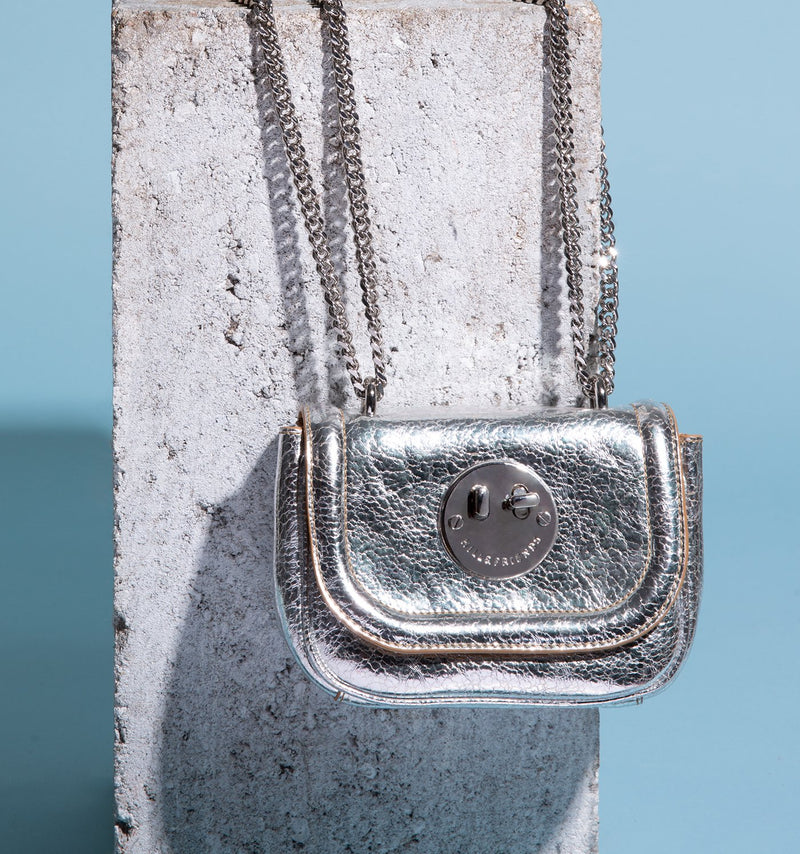 Silver Metallic Tweency Chain Mini Bag - Smiley Lock Tweency