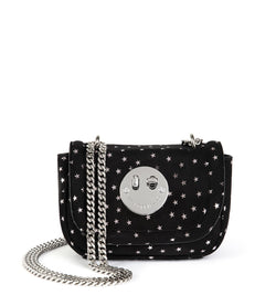 Silver Stars Suede Metallic Tweency Chain Mini Bag - Smiley Lock Tweency