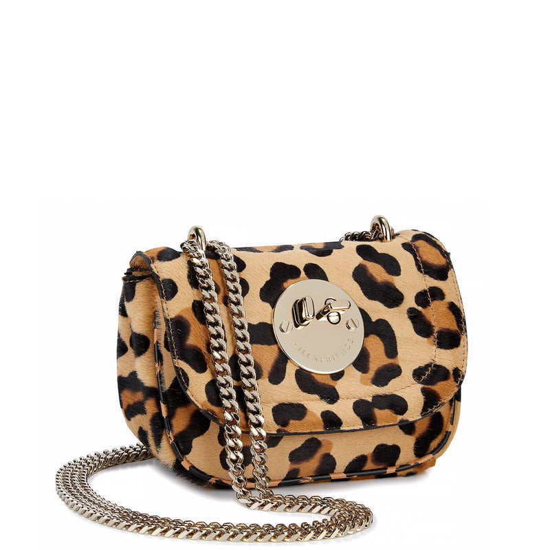 Tweency Chain Bag - Leopard Printed Haircalf Happy Tweency Mini Chain Bag with Pale Gold 'Winky' Twist Lock - Hill and Friends