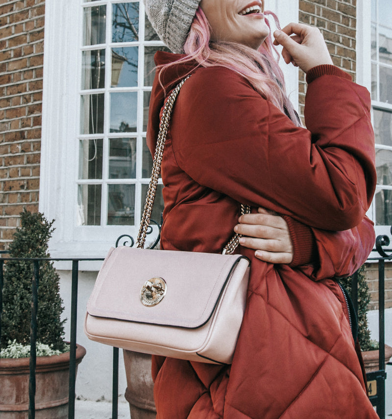 Blush Pink Leather Cross-Body Chain Bag - Hill and Friends