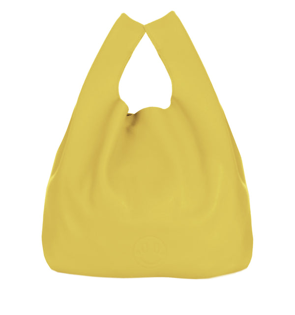 Happy Shopper - Yellow Leather Carrier Bag with Smile Emboss - Hill and Friends