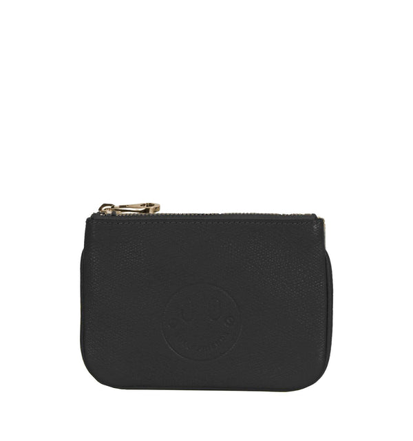 Black Mini Pouch - Black Zip Top Purse with Smile Emboss - Hill and Friends