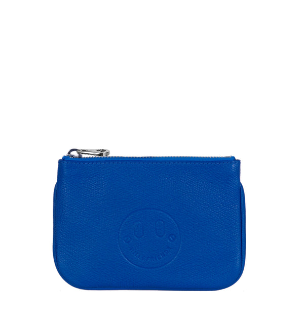 Happy Mini Pouch - Royal Blue Leather Purse with 'Happy' face emboss - Hill and Friends