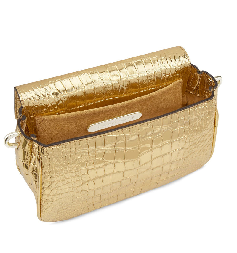 Hill & Friends Gold Croc Embossed  Chain Smile Creature Bag Interior