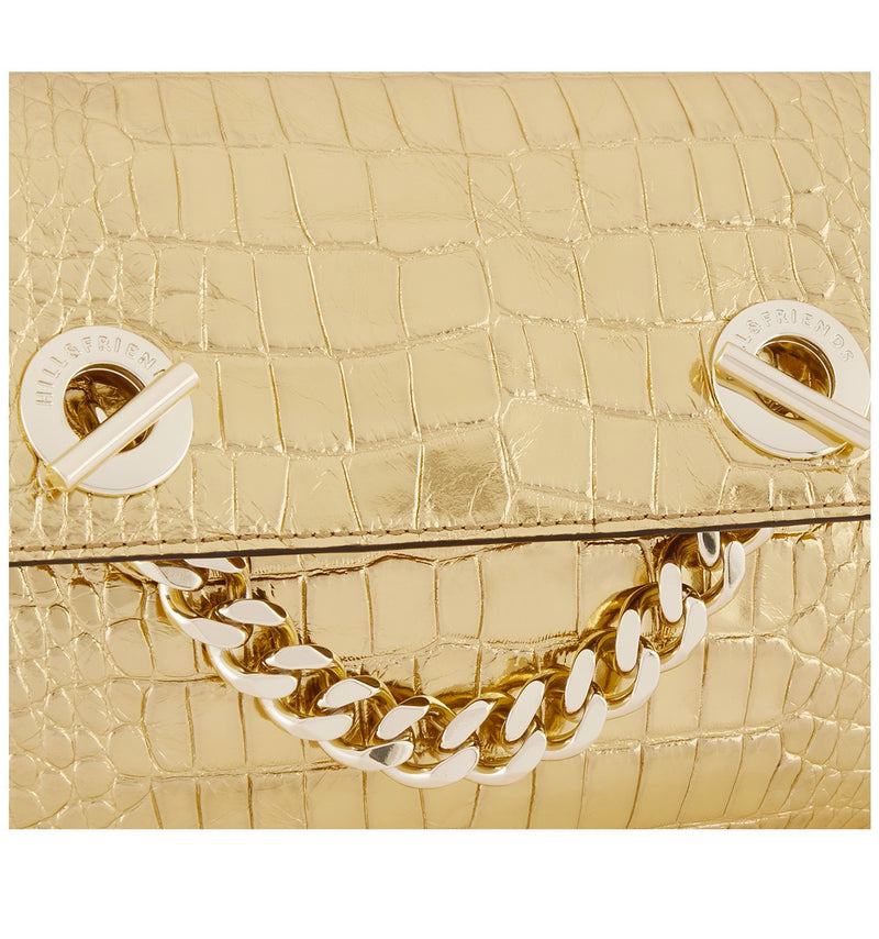 Hill & Friends Gold Croc Embossed  Chain Smile Creature Bag Detail