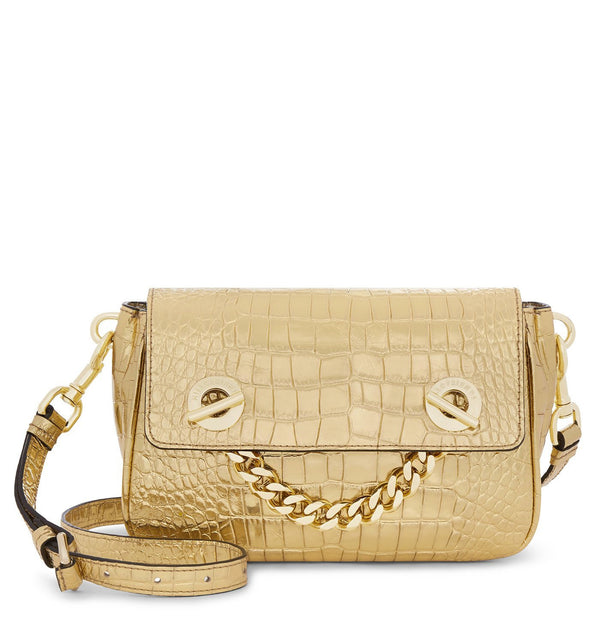 Hill & Friends Gold Croc Embossed Creature Chain Smile Bag