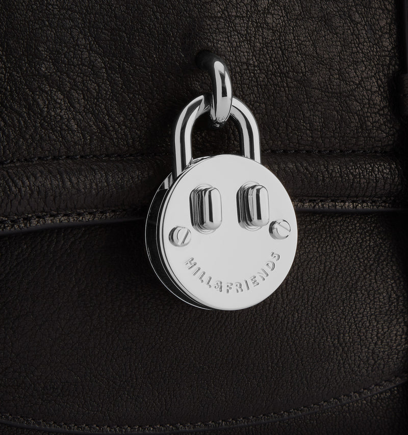 Hill & Friends Black Leather Friendly Padlock Camera Bag  Detail