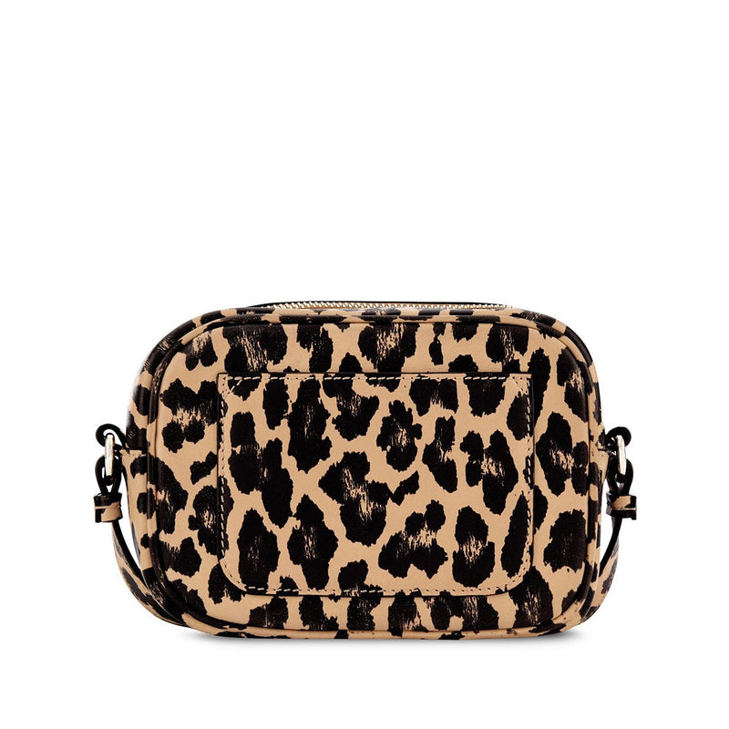 Happy Mini Camera Bag - Leopard Print Mini Camera Bag with Pale Gold 'Happy' face plaque - Hill and Friends