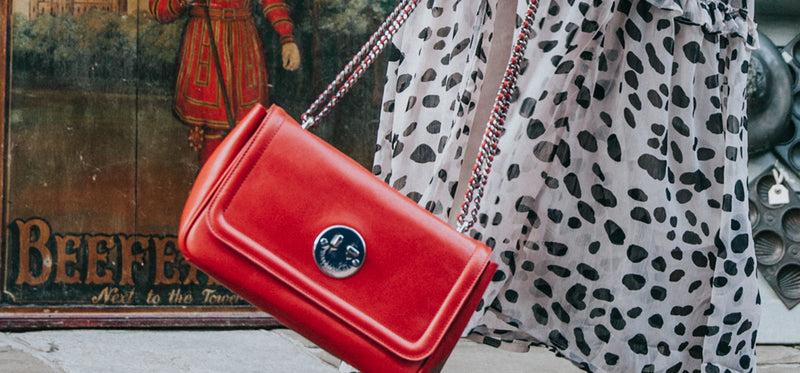 Red Leather Cross-Body Chain Bag - Hill and Friends