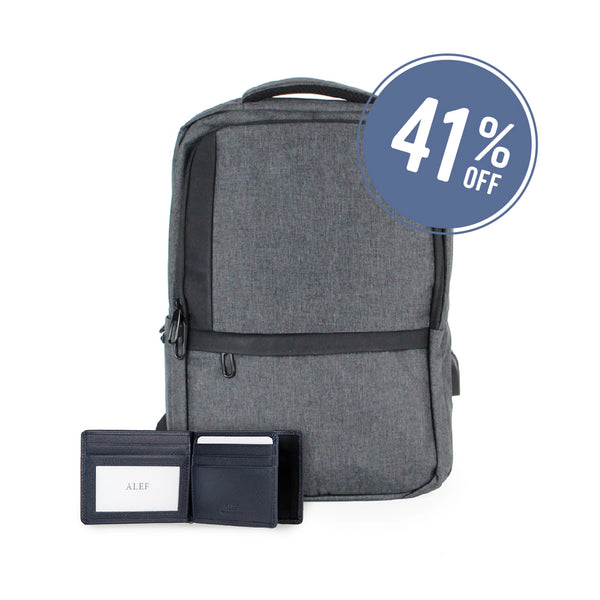 [Bundle deal] Alef Maxwell Backpack (Grey) and Fullerton Money Clip Wallet (Navy)