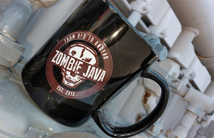 Black Ceramic Coffee Mug with Skull Zombie Java Logo