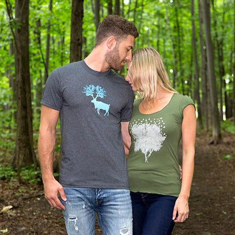TSHIRTs caribou tree arbre tees foret nature local product small business canada quebec