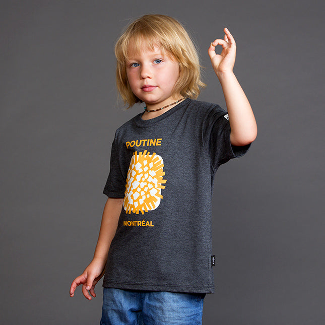 Poutine Montreal MTL Kids T-shirts Tee Quebec Canada Local designer Gift Cadeau Quebecois Poutine Week PoutineFest