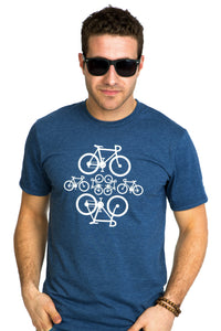 Bicycle marin chiné  t-shirt canada organic cyclist cycliste quebec designer quebecois