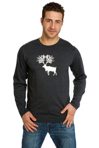 Mens Caribou T-shirt Long sleeve Soft Comfortable Cotton Graphic Tees Clothing