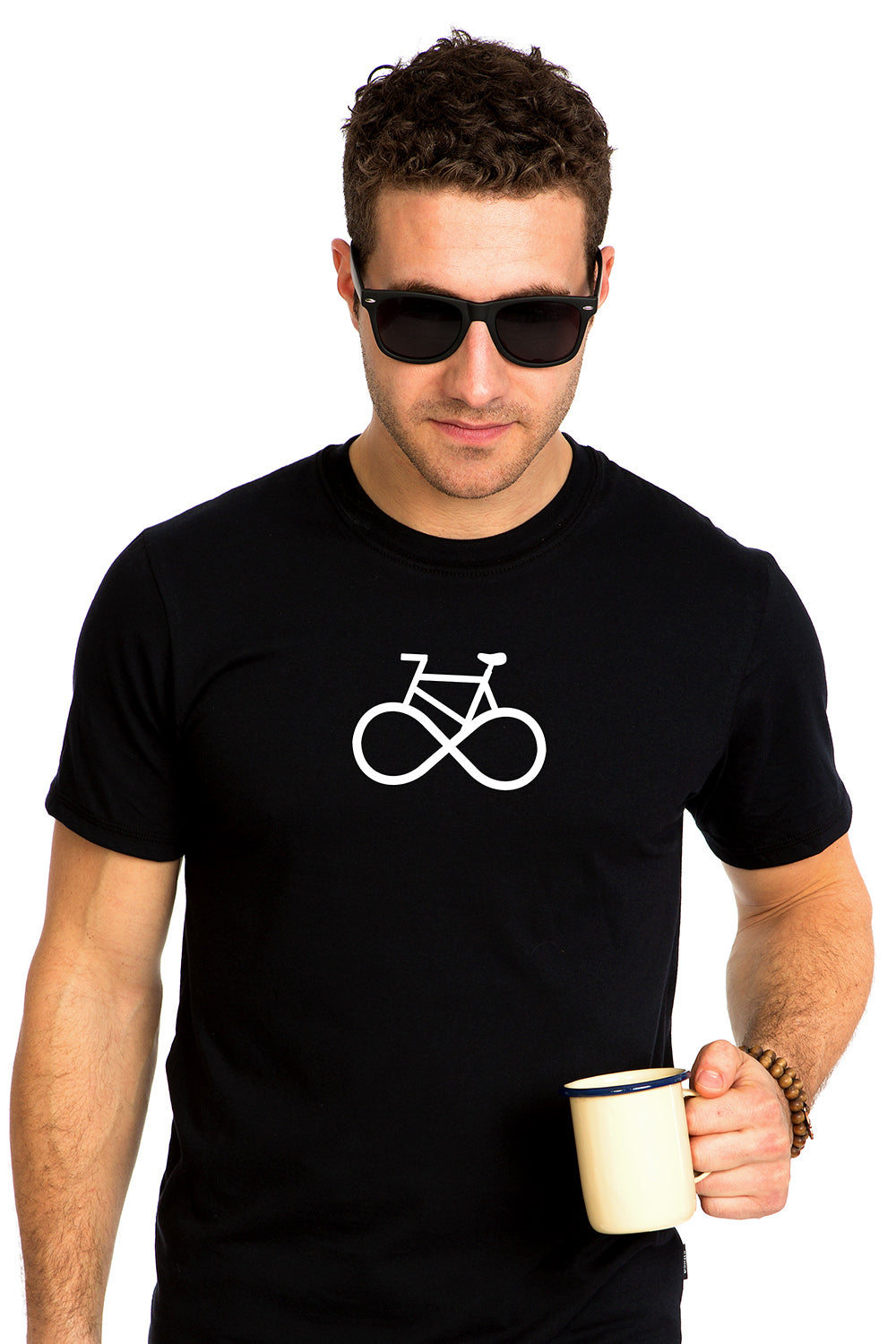 Life cycle 2.0 Bicycle Infinity Symbol T-shirt Black PLB Design Organic Local