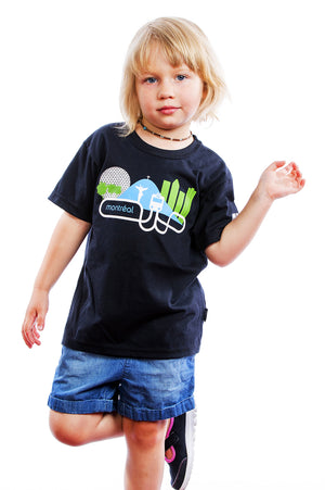 Kids Cool Montreal Mount Royal Shirt Graphic Tee Tshirt | Montreal, Canada Black Noir Organico Bio