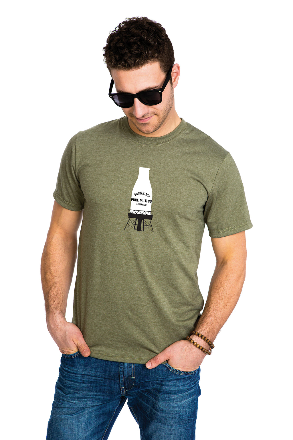 Mens Guaranteed Pure Milk bottle T-shirt Kaki Green Army bouteille