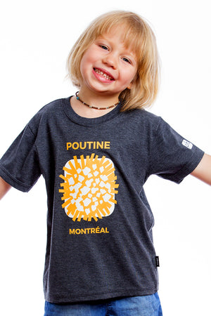 Kids Funny Cool Poutine Organic Fun Quebec Shirt Graphic Tee Tshirt | Montreal, Canada Enfant chandail