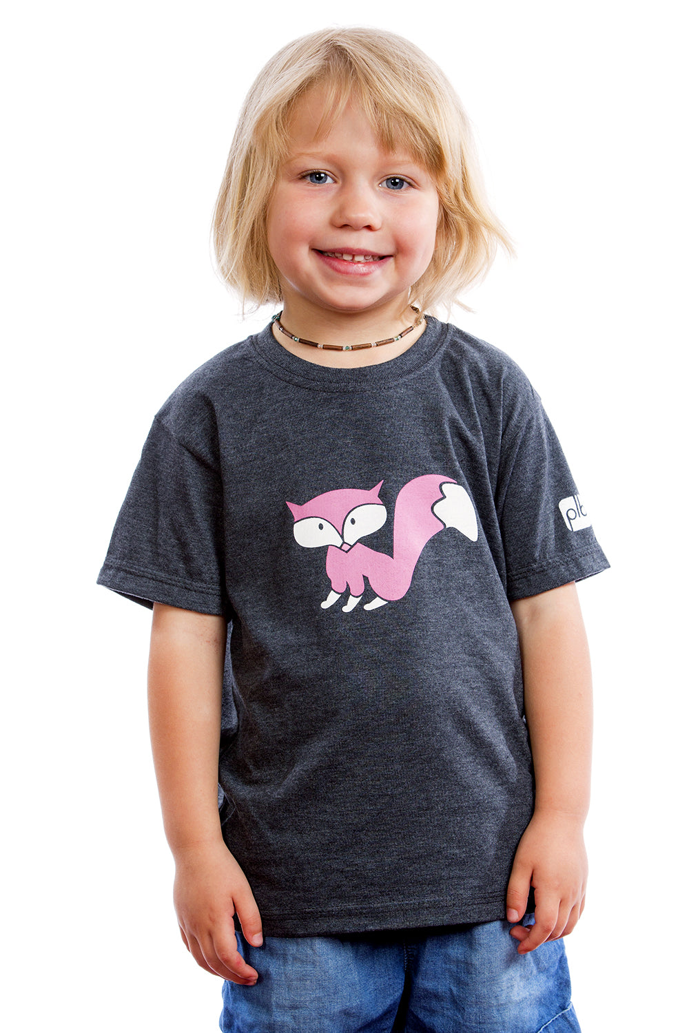 Kids Fox Shirt Graphic Tee Baby Tshirt | Organic | Made in Canada Gray Gris