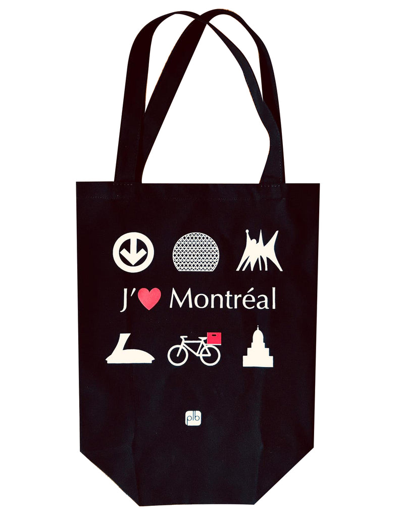 Sac PLB Tote Bag Black Noir J'aime Montreal Shopping Bicycle