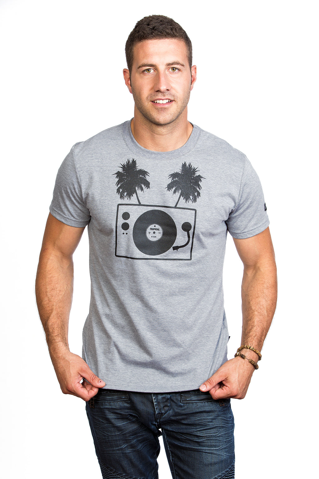 Table tournante turntable palm tree T-shirt DJ