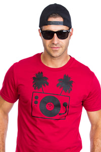 Tropical Table tournante turntable palm tree T-shirt DJ