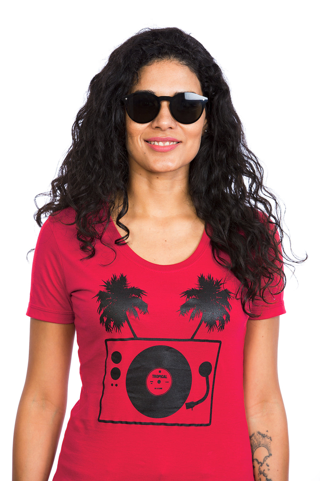 Tropical Turntable T-shirt for Women - Cotton