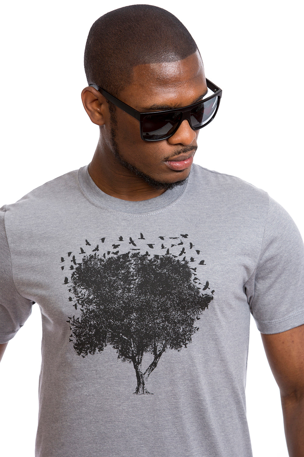 Tree of Life T-shirt Arbre de la vie Organic Birds Oiseaux Gray Black Eco Tees
