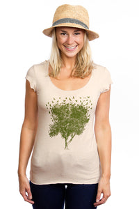 Cream bamboo Tee tshirt Women Green Amazing Lululemon Lole Beautiful Design Bird Tree Raglan