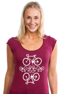 Bamboo Women's Bicycles T-shirt PLB Made in Montreal, Burgundy