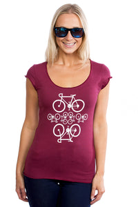 Bamboo Women's T-shirt PLB Velo Bicyclettes, Bourgogne