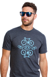 Mens Bicycles T-shirt Organic Cotton PLB Made in Montreal, Canada