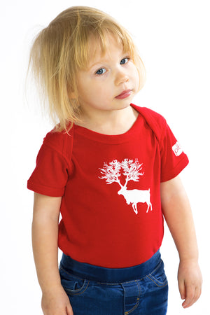 Caribou Baby Onesie Cotton Adorable Red One-piece rouge