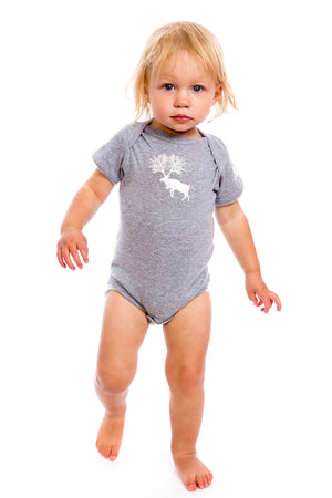 PLB Caribou Baby Onesie Gray shower Gift idea Girl Design Cool Canada