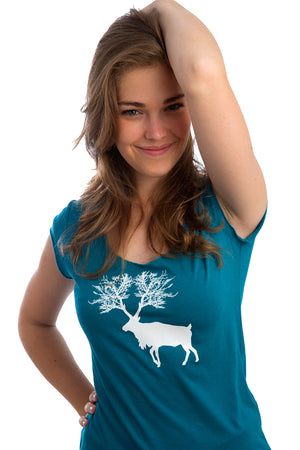 Caribou teal Bamboo T-shirt from PLB Design