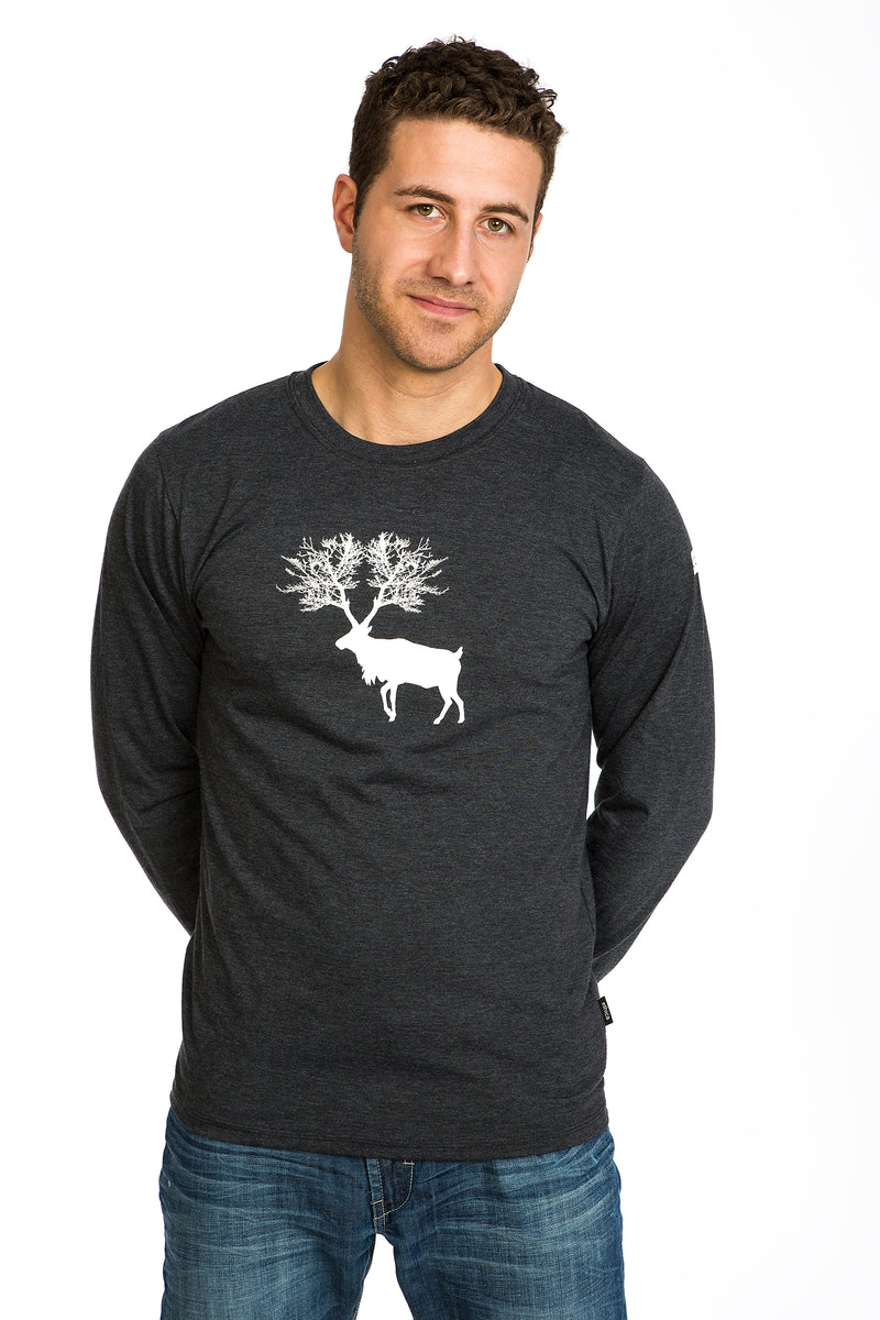 Mens Caribou T-shirt Long sleeve Soft Comfortable Manche longue Tees Gray