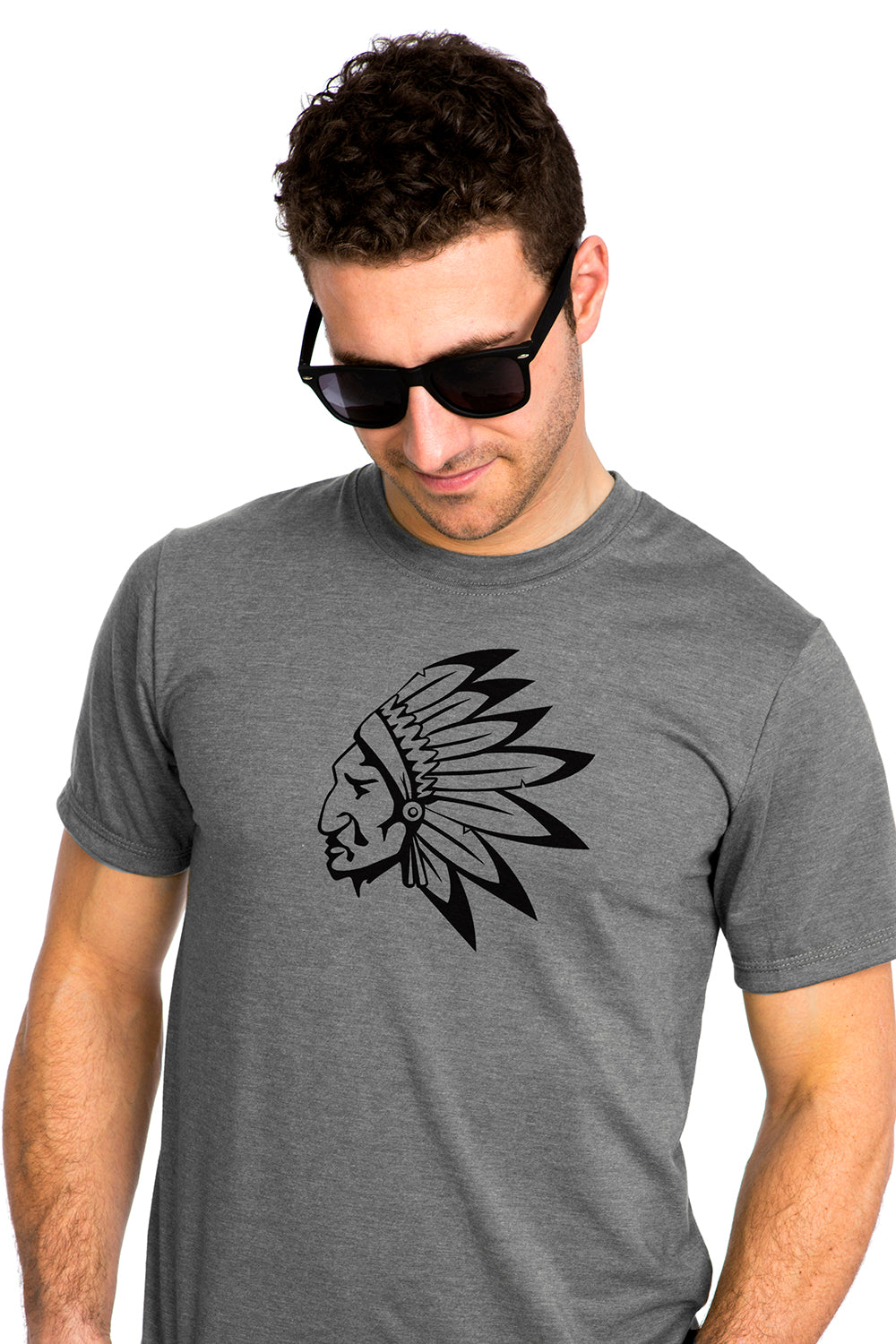 Native American Chief T-shirt Chef Amerindien PLB Gray Gris