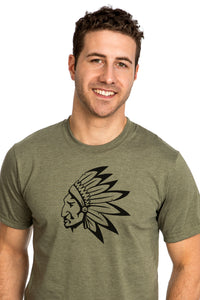 Native American Chief T-shirt Chef amerindien PLB Kaki Green Vert