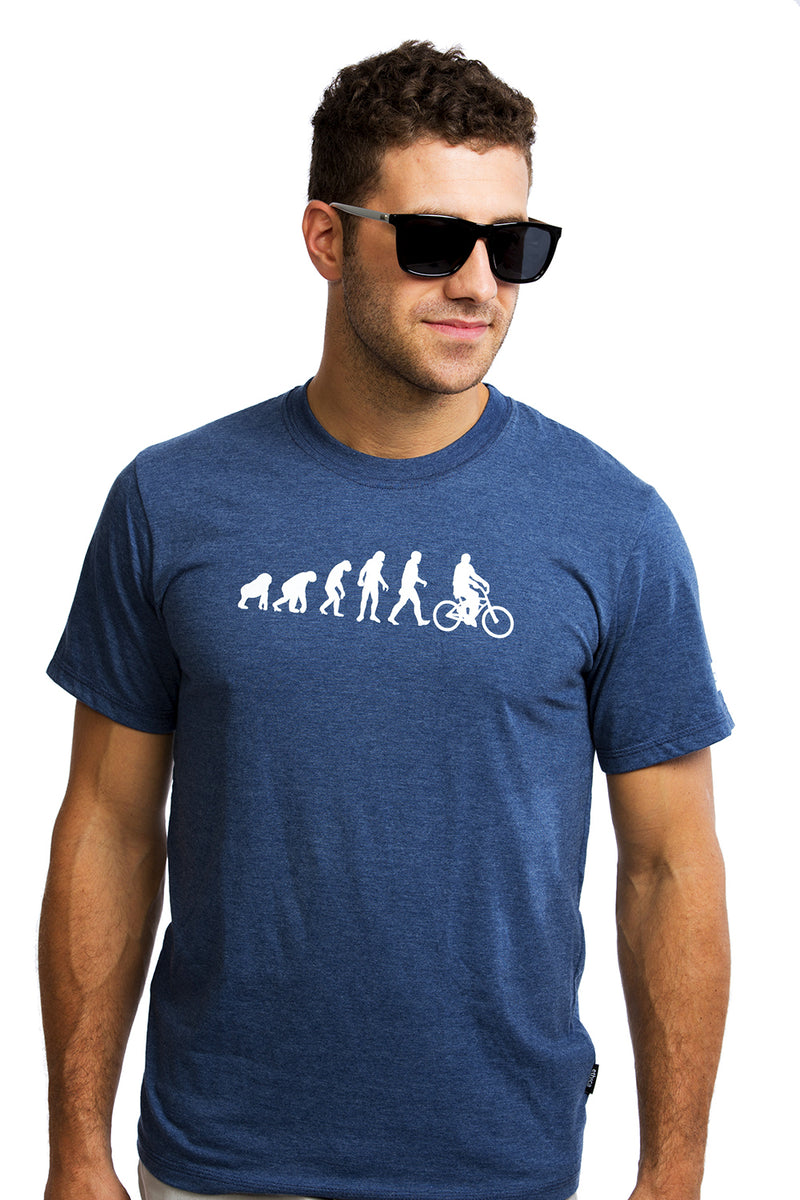 Mens Evolution T-shirt Cool Graphic Tee Organic Cotton PLB Bicycle Made in Montreal, Canada | Evolucion