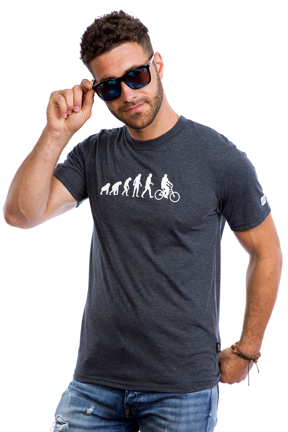 Mens Evolution T-shirt Organic Cotton PLB Bicycle Made in Montreal, Canada | Evolucion