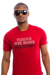 Mens Farine Five Roses T-shirt - Red - Organic - Montreal - Canada