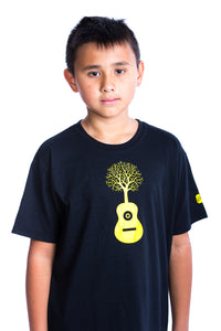 Kids Guitar Shirt Graphic Tee Baby Tree Tshirt | Organic | Locally Made Black Yellow Noir Jaune