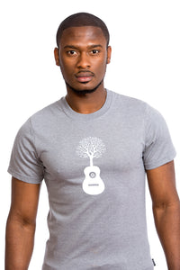 Nature Guitar T Shirt Tree Arbre Guitare Gris Grey Organic Made Local