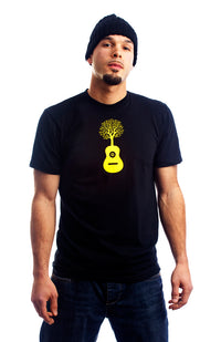Nature Guitar T Shirt Tree Arbre Guitare Black Noir Yellow Jaune Organic Made Local