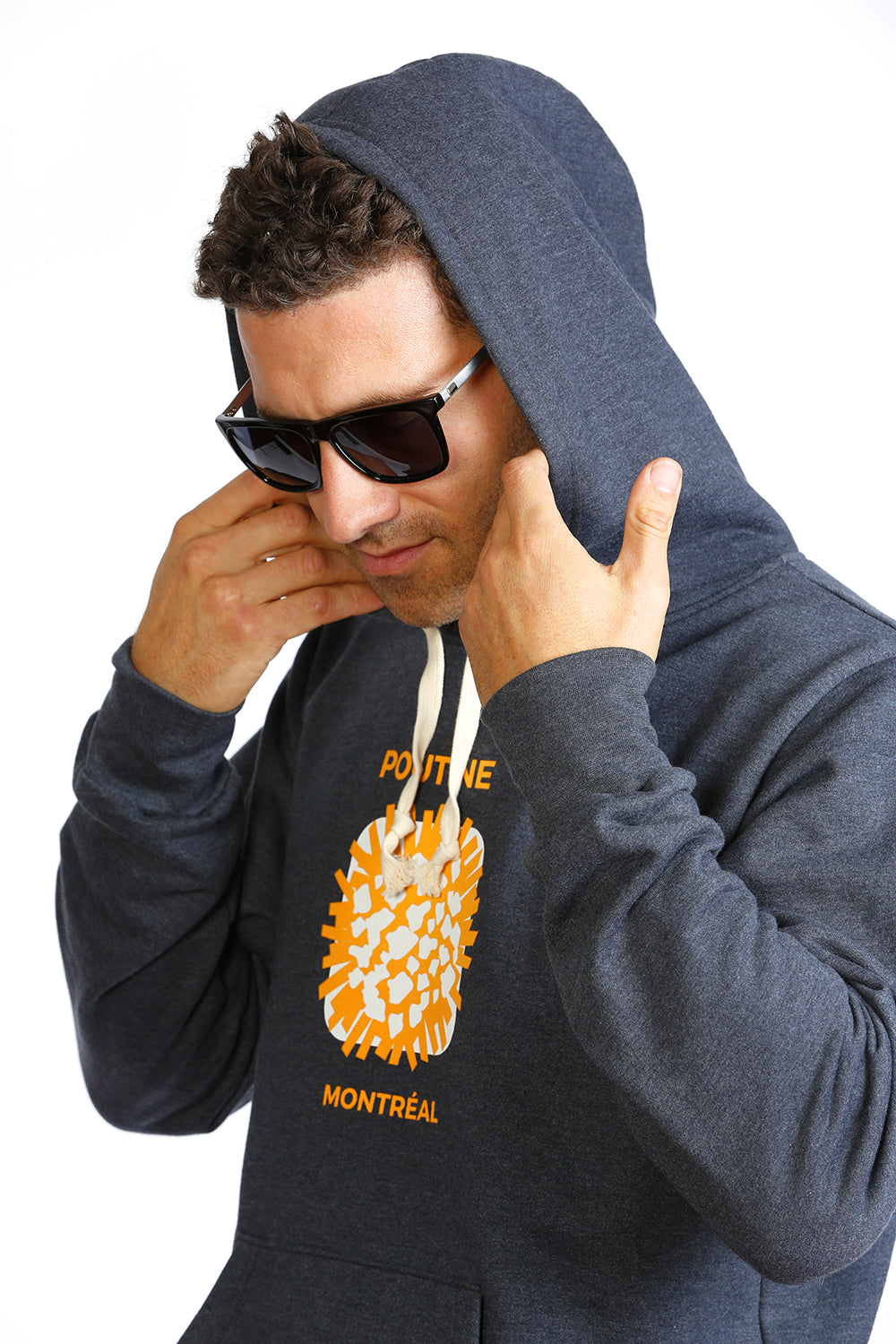 Cool Organic hoodie with Poutine illustration