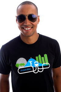 Montreal T-shirt City Skyline Organic Local Bio tresnormal Tee Playera MTL Black Noir PLB Camiseta I Love Azul